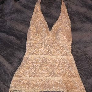 Halter top cream and lace